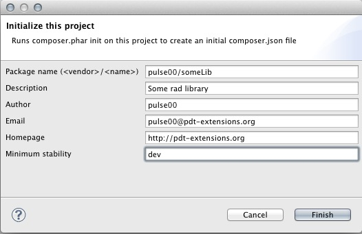 eclipse pdt composer initialize comopser.json