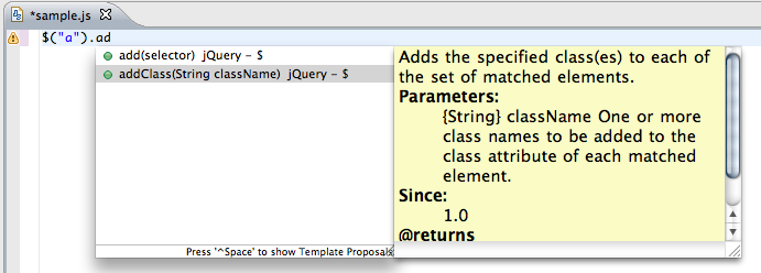 eclipse jquery editor
